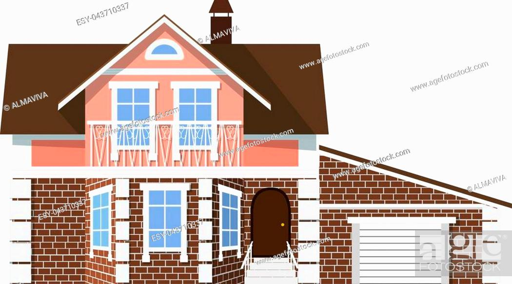 Flat Style Style Small Beautiful Two Storey House With Garage On