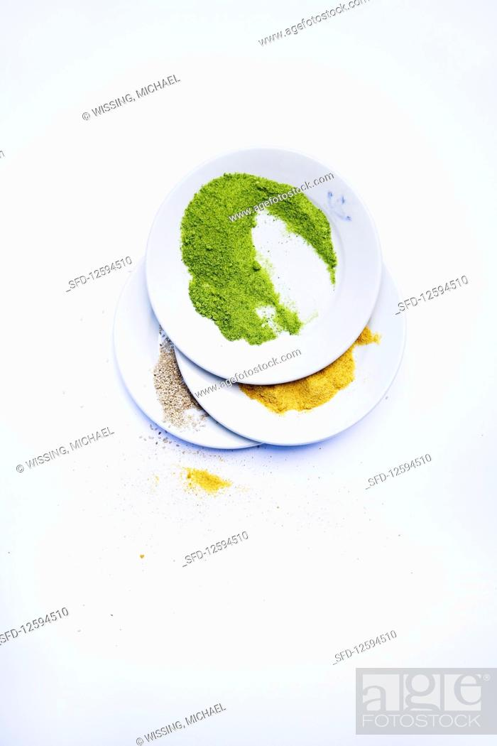 Photo de stock: Herb batter, curry paste and sesame crumbs.