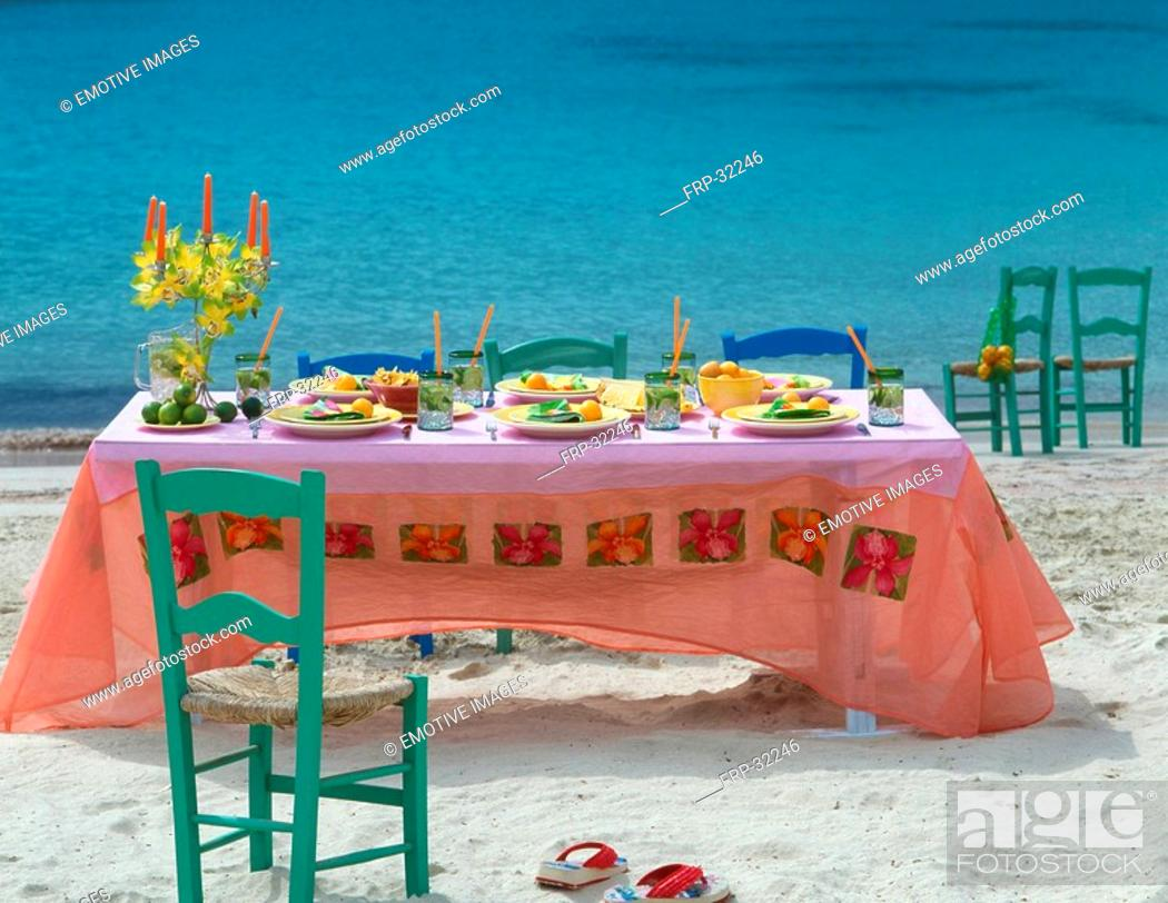 Stock Photo: Table setting at the beach - holiday feeling.