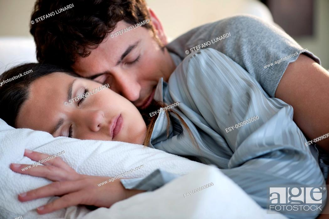 Stock Photo: Relaxed couple sleeping.