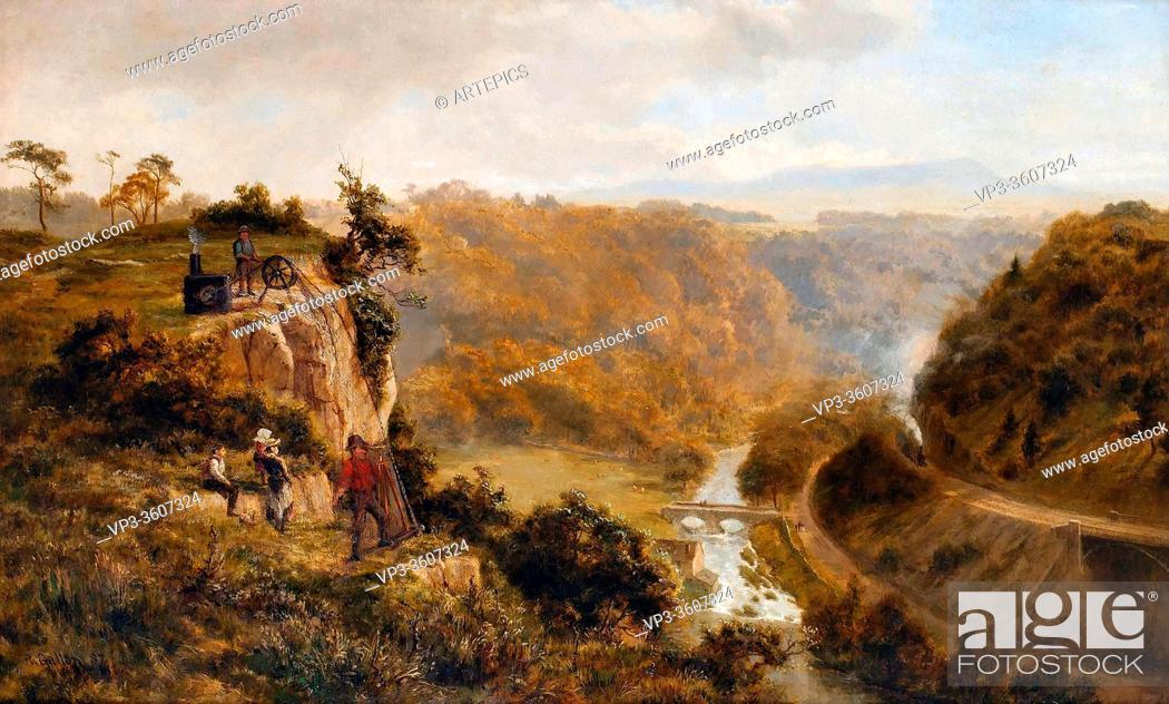 Stock Photo: Gallon Robert - Landscape with Figures - British School - 19th Century.