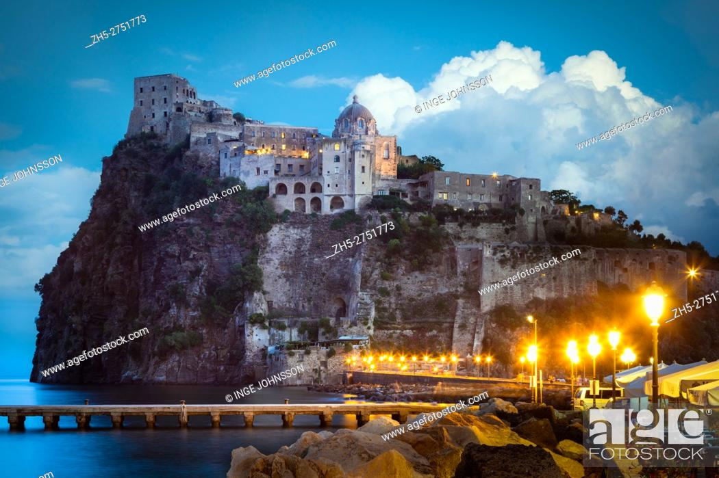Stock Photo: Castello Aragonese is a medieval castle next to Ischia (one of the Phlegraean Islands), at the northern end of the Gulf of Naples, Italy.