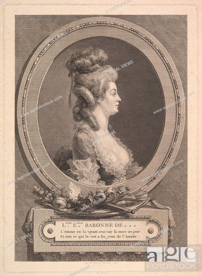Stock Photo: Portrait of Louise Émilie Baronne de ***. Artist: Augustin de Saint-Aubin (French, Paris 1736-1807 Paris); Date: 1779; Medium: Etching; fourth state of five.
