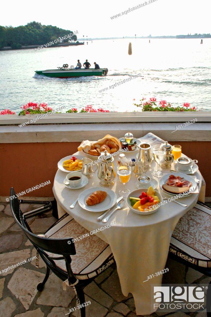 Stock Photo: Breakfast in the Hotel Cipriani Terrace. Giudecca island. Venice. Venetia. Italy.