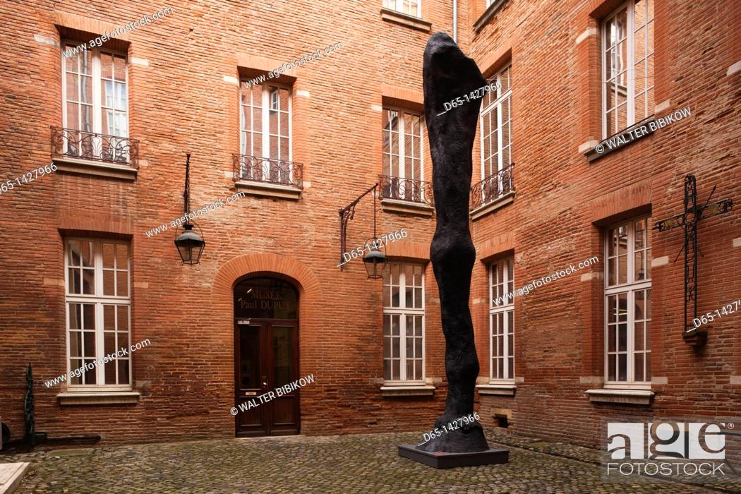 Stock Photo: France, Midi-Pyrenees Region, Haute-Garonne Department, Toulouse, Musee Paul Dupuy museum, exterior and sculpture, Leg of a Horse by Daniel Coulet.