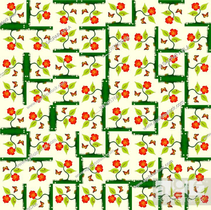 Stock Vector: Pattern of plants, flowers and butterflies on a light yellow background.
