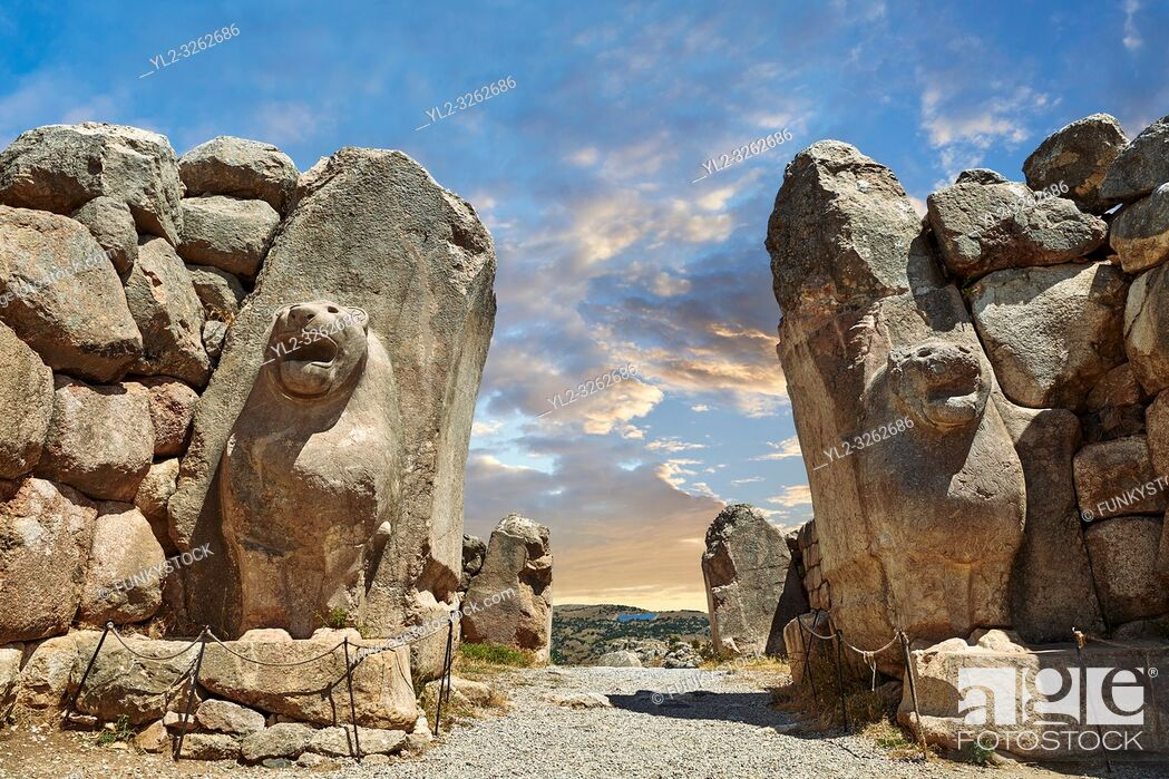 Stock Photo: Picture & image of the Hittite lion sculpture of the Lion Gate. Hattusa (also Ḫattuša or Hattusas) late Anatolian Bronze Age capital of the Hittite Empire.