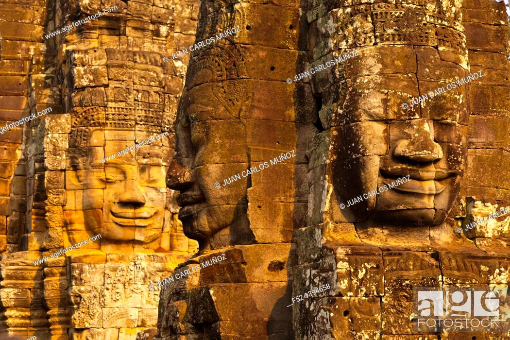 Photo de stock: Face-towers  Upper terrace  Bayon Temple  Angkor Siem Reap town, Siem Reap province  Cambodia, Asia.