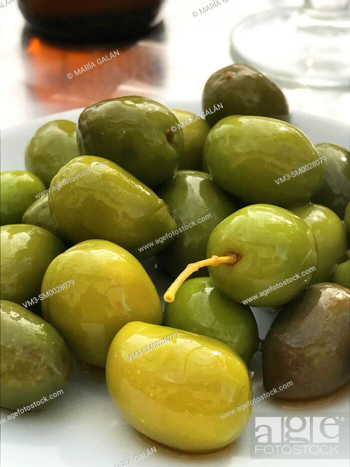 Stock Photo: Green olives.