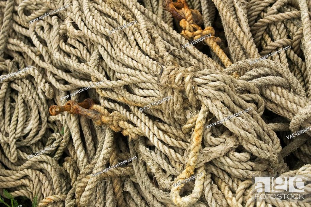 Stock Photo: Close-Up, Coil, Cord, Day, Fibers.