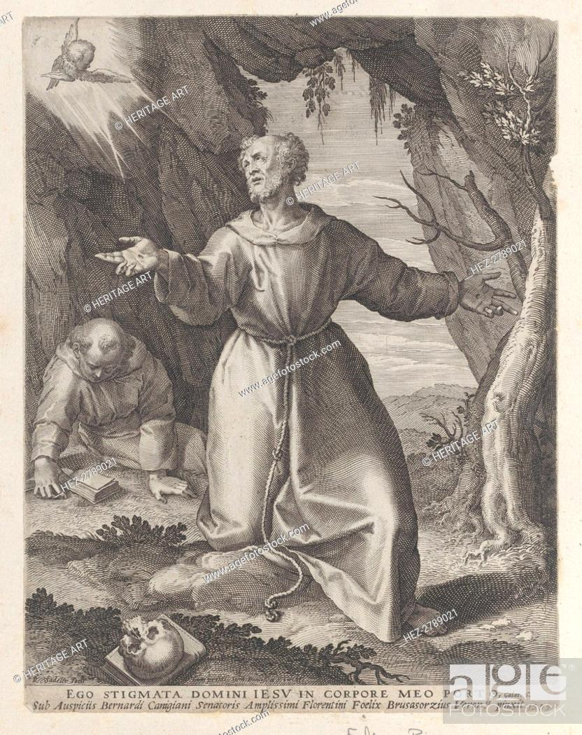 Stock Photo: Saint Francis kneeling with his arms outstretched, looking towards a cherub at upper left, .., 1599. Creator: Raphael Sadeler.
