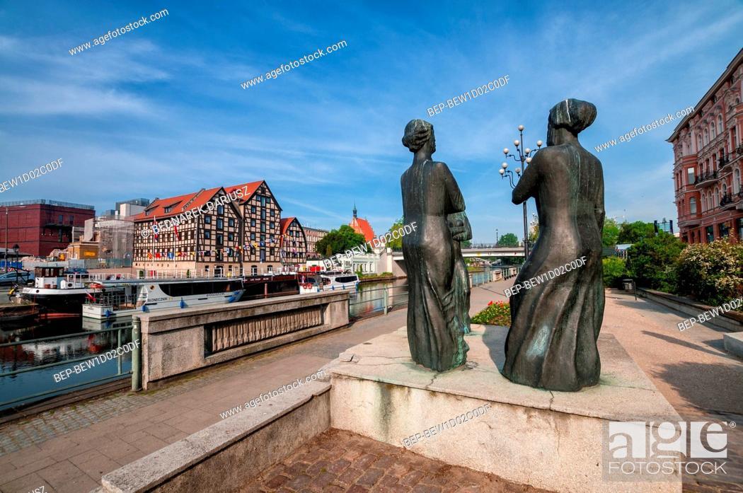 Three Graces Statues On The Brda Waterfront In Bydgoszcz Kuyavian