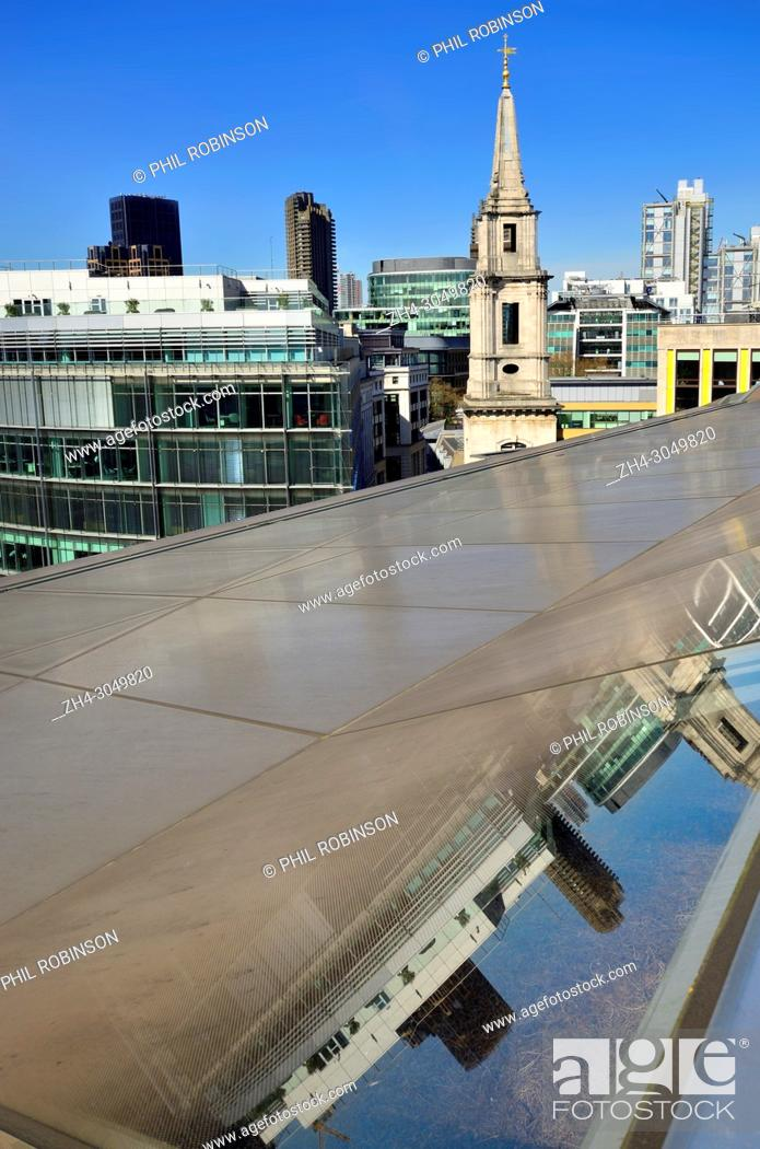 Stock Photo: London,England, UK. The roof of One New Change, near St Paul's Cathedral: Spire of St Vedast alias Foster church.