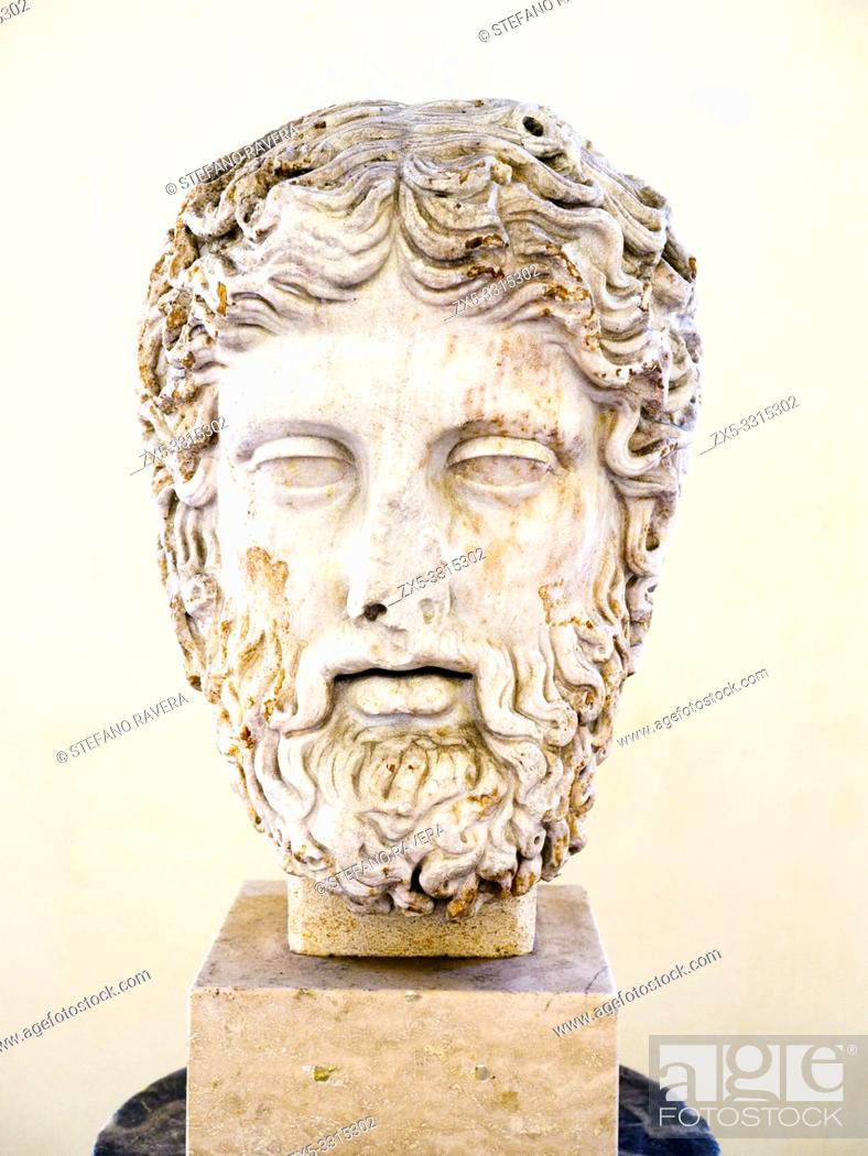 Photo de stock: Head of Zeus, Roman copy of an original by the school of Phidias - First half of the 2nd century AD - National Roman Museum - The Baths of Diocletian - Rome.