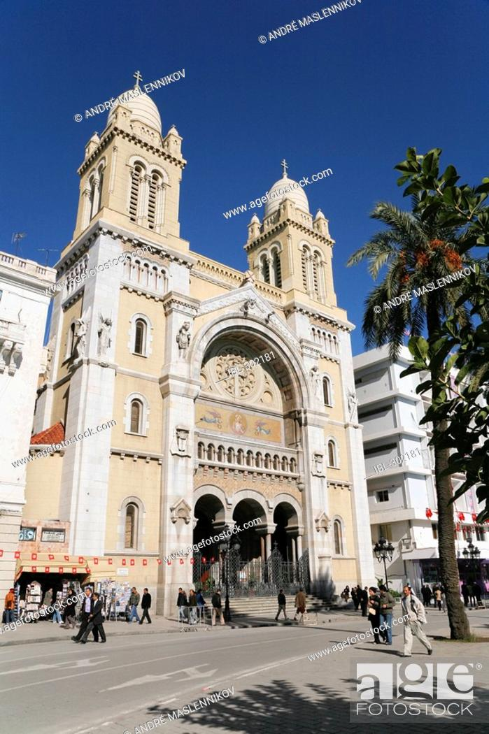 Stock Photo: The Cathedral Vincent de Paul in Tunis. Tunisia.