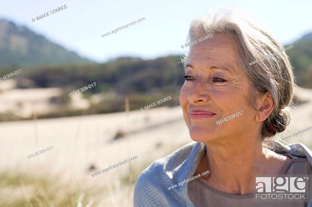 Stock Photo: Serene looking senior woman.