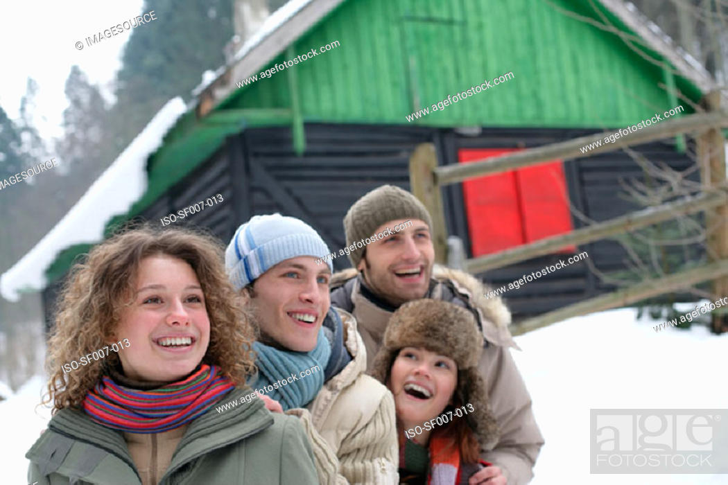 Stock Photo: Friends outside in the snow.