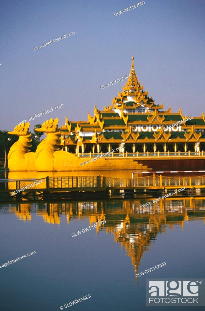 Stock Photo: Palace on a barge in a lake, Yangon, Myanmar.