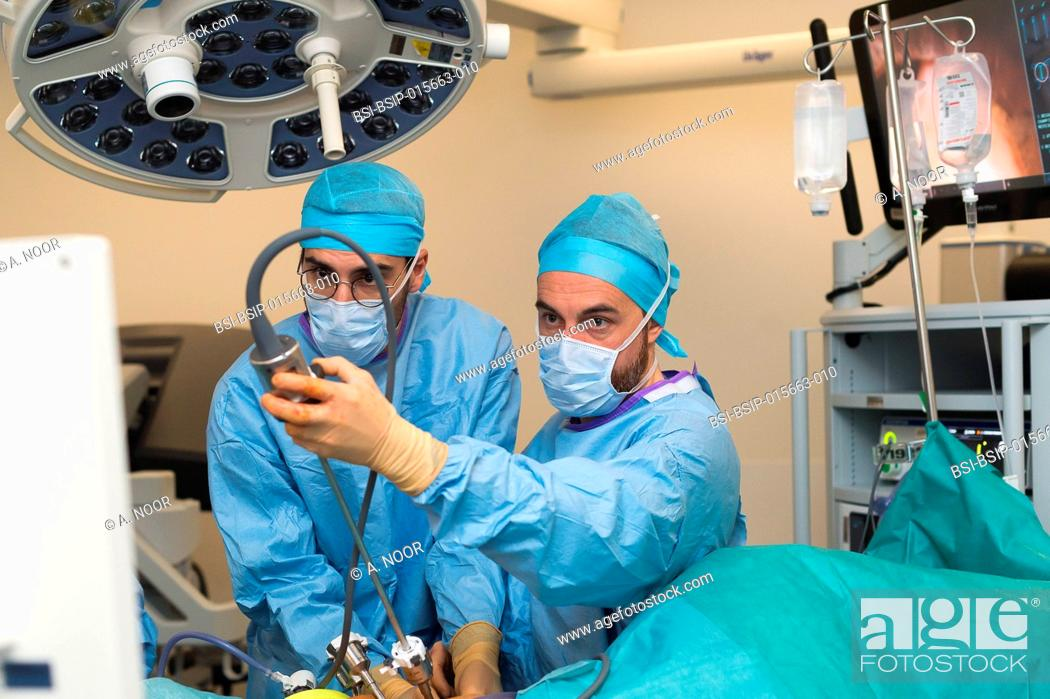 Stock Photo: Reportage on a kidney transplant in the urology service of Nice Hospital, France. The kidney is taken from a living related donor, the recipient's wife.