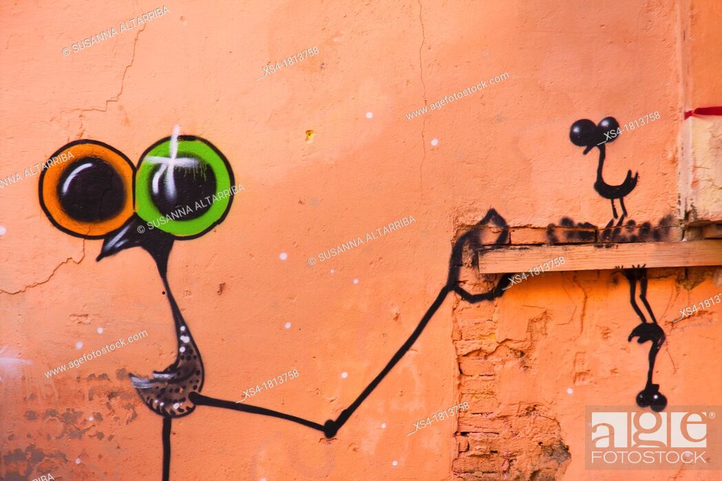 Stock Photo: Birds with big surrealists eyes, painted on a wall, graffiti, Valencia, Spain, Europe.