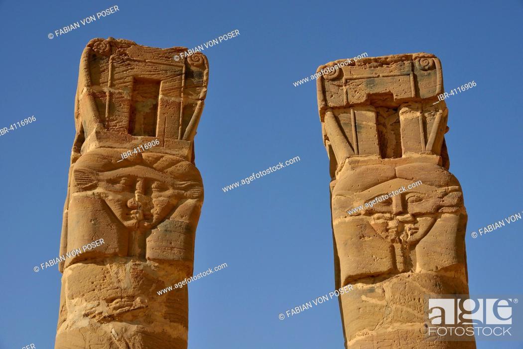 Stock Photo: Columns, Temple of Hathor, Gebel Barkal, Karima, Northern state, Nubia, Sudan.