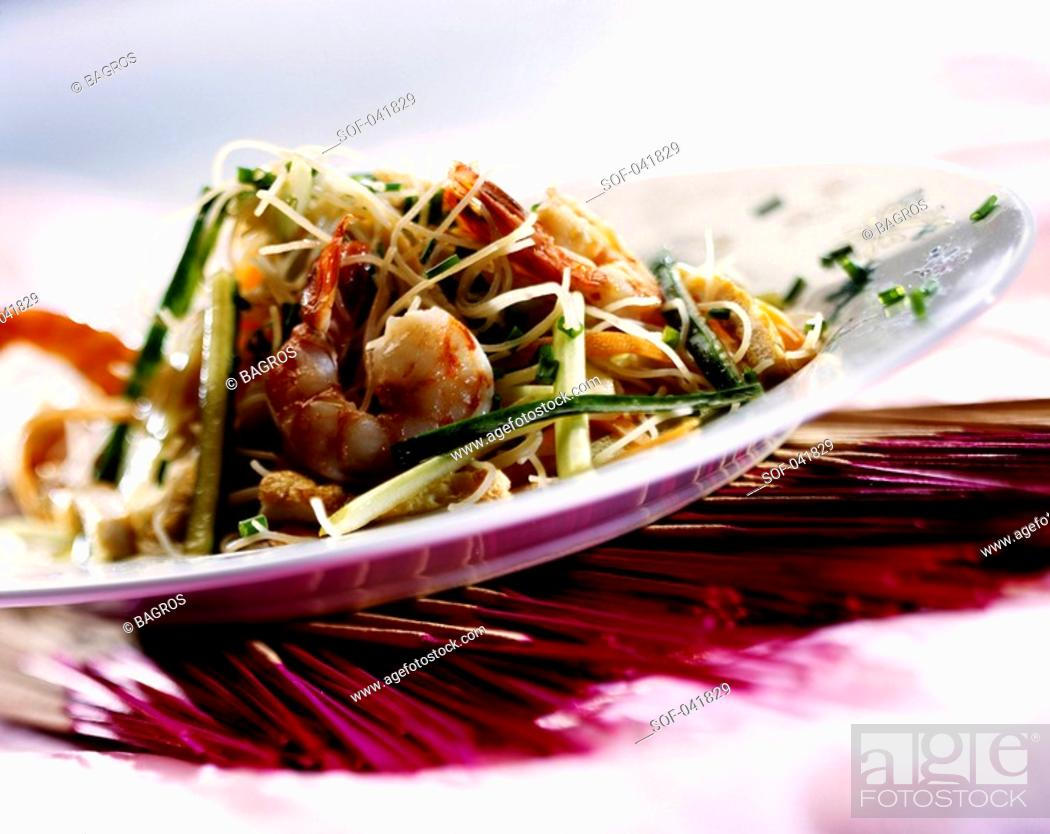 Stock Photo: fried noodles with prawns.