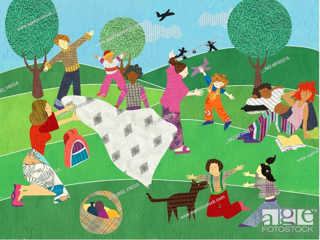 Stock Photo: Multicultural people having a big picnic in the park.