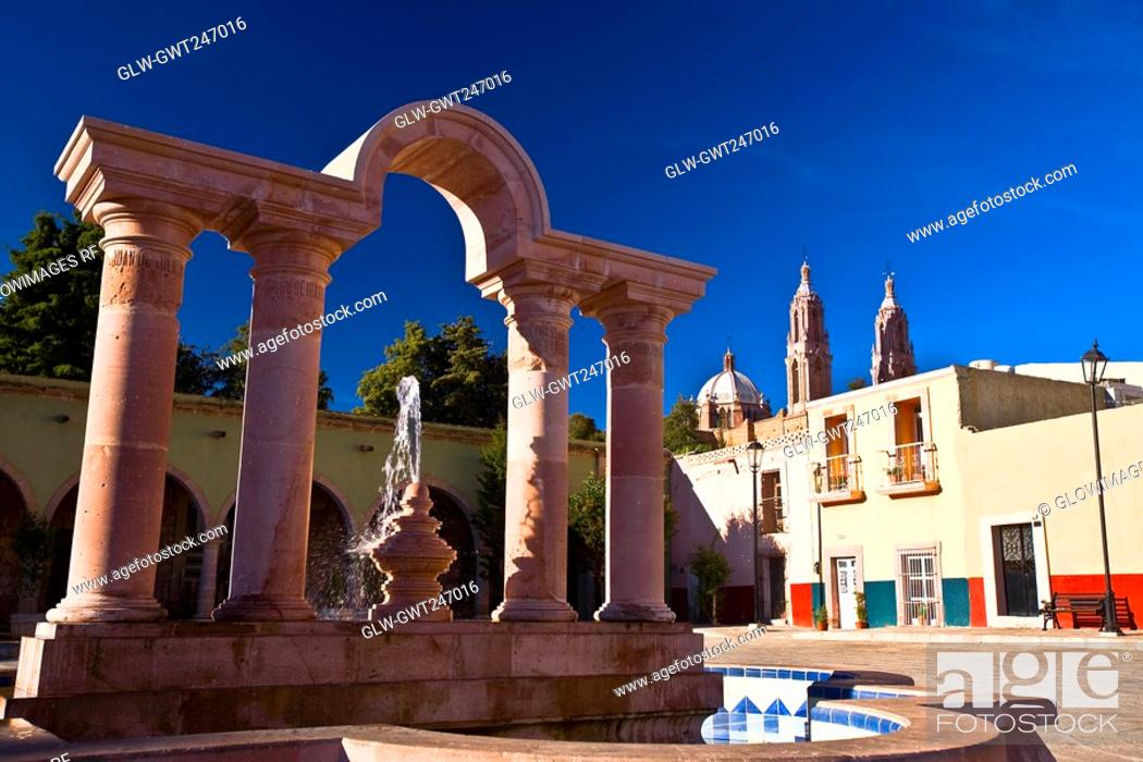 Stock Photo: Fountain in front of a building, Zacatecas, Mexico.