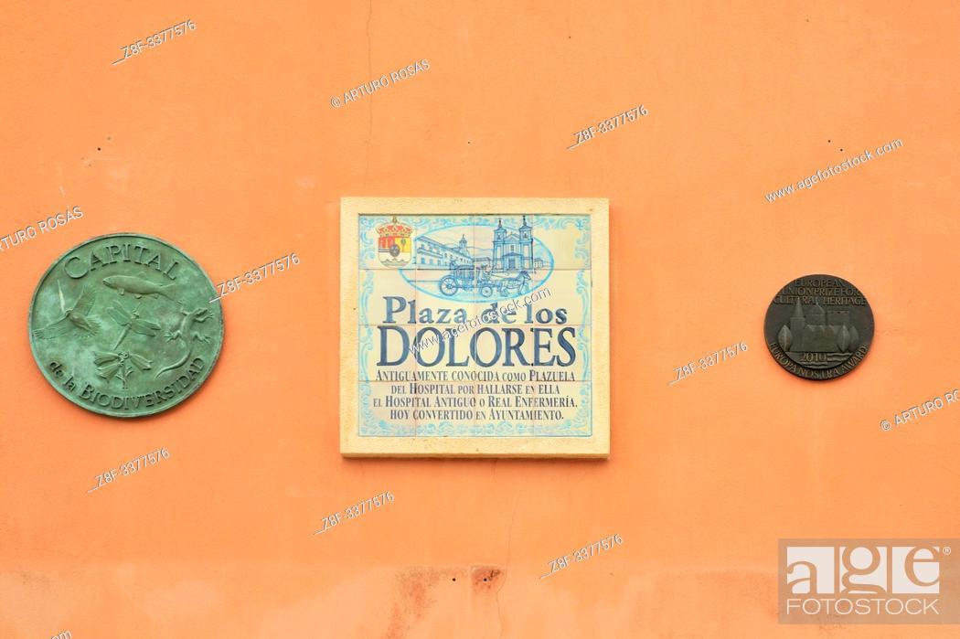 Stock Photo: Plaza de los Dolores sign. Real Sitio de San Ildefonso, Segovia.