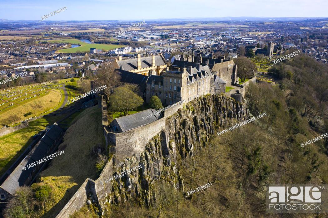 Stock Photo: Aerial view of Stirling Castle , Stirling, Scotland UK.