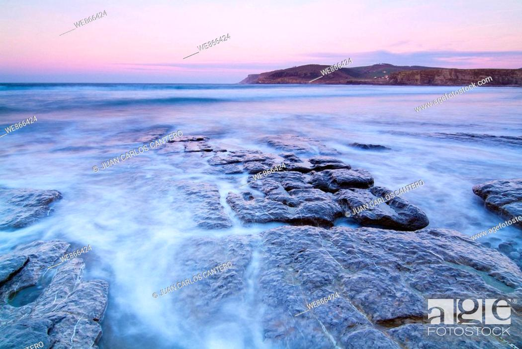 Stock Photo: Langre beach in the evening, Cantabria, Spain.