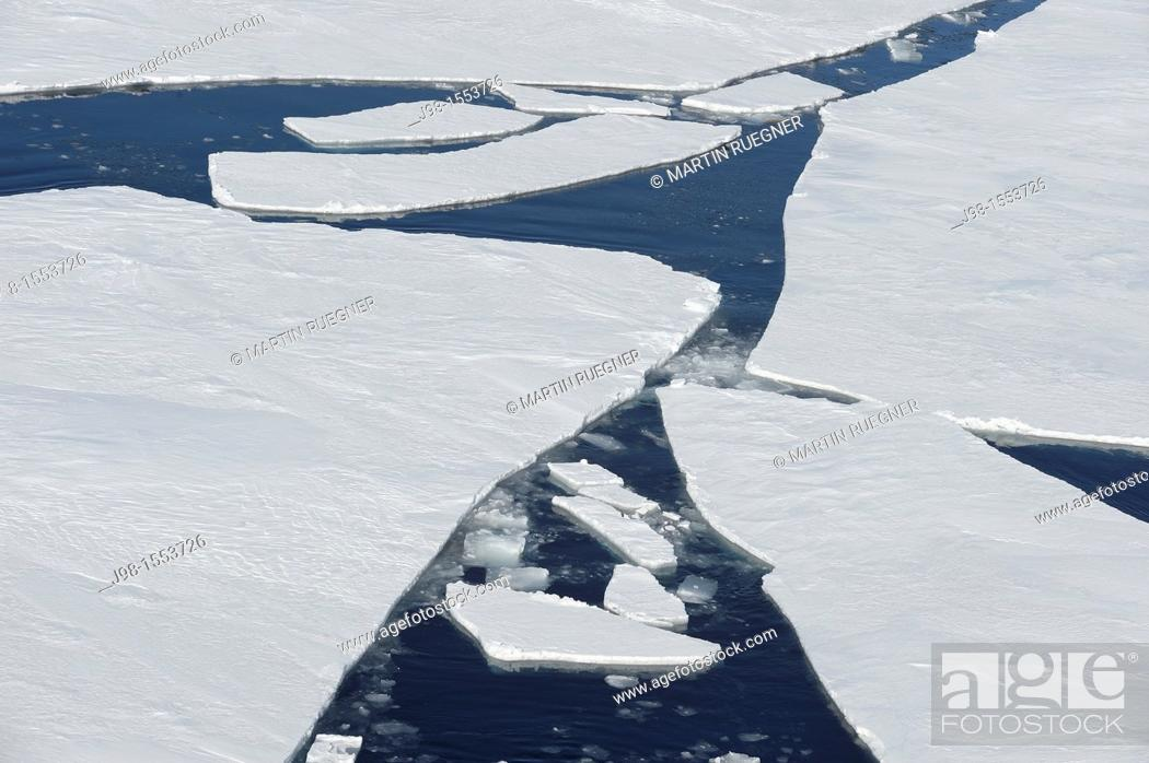Stock Photo: Cracks in Pack ice Ice Floe  Weddell Sea, Antarctic Peninsula, Antarctica.