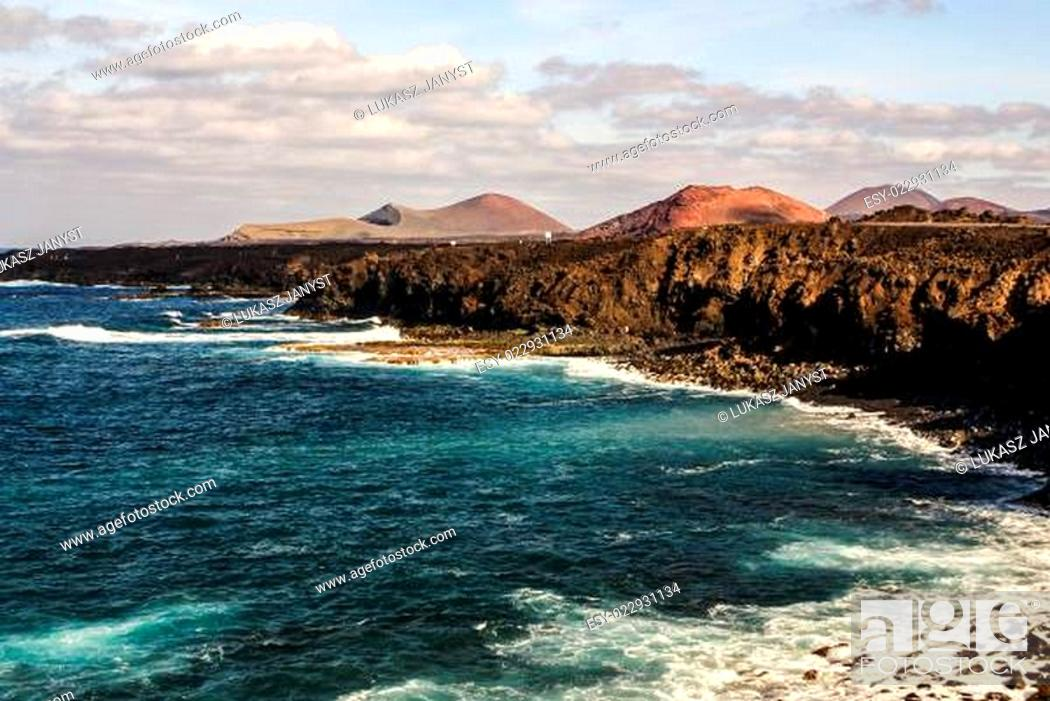 Stock Photo: Los Hervideros, Lanzarote, Canary Islands. The place where lava was going to the Ocean.