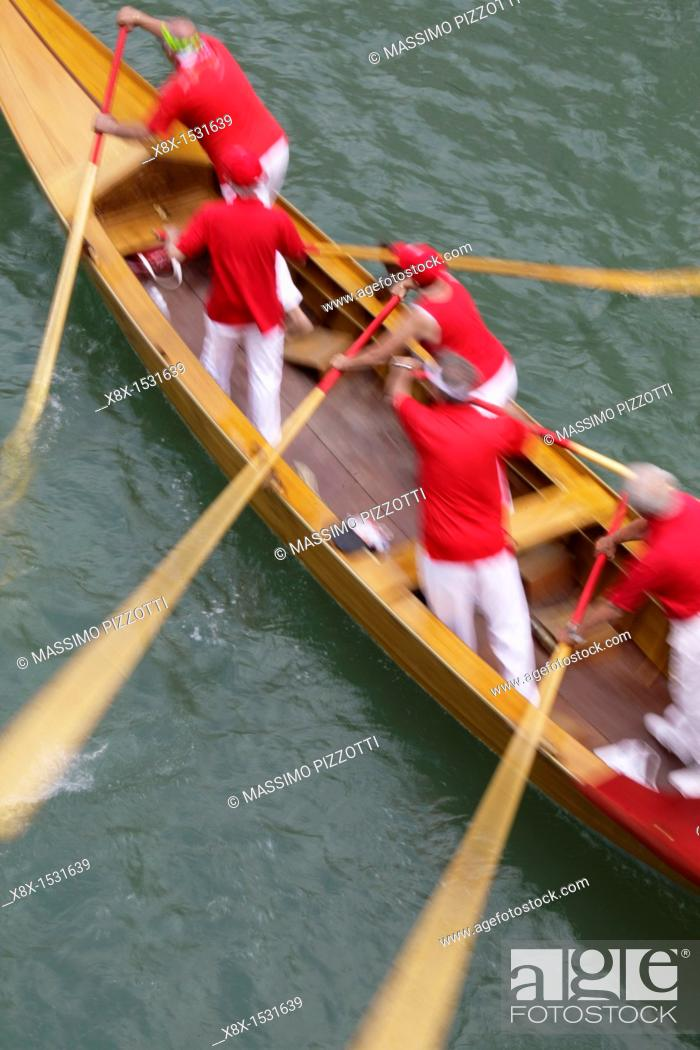 Stock Photo: Rowboat during the Vogalonga competition, Venice 2007, Italy.