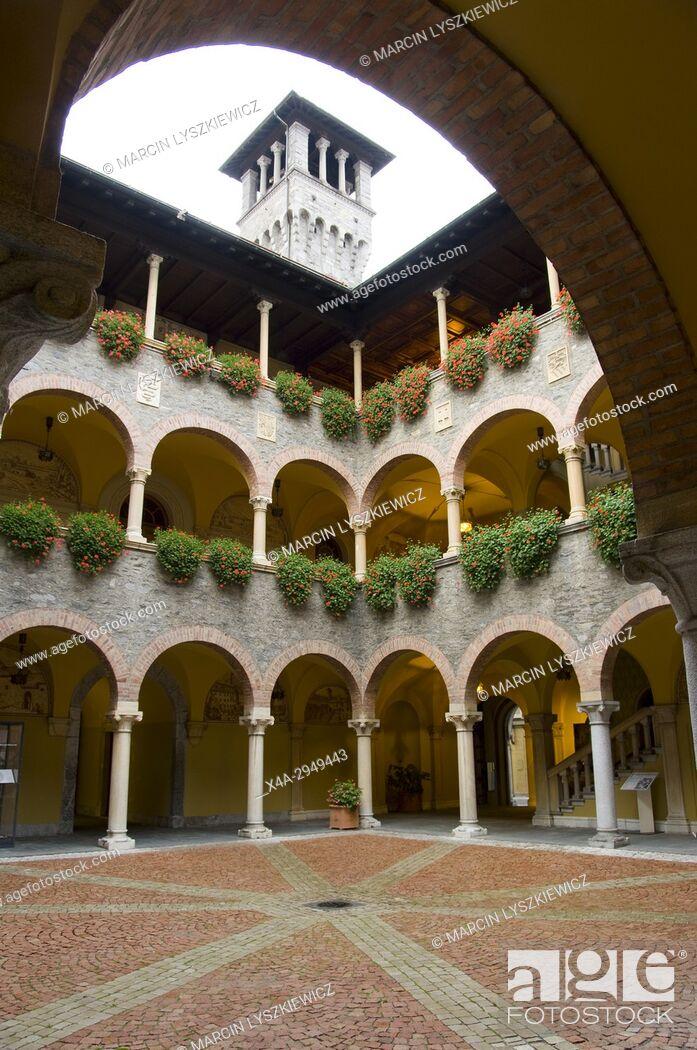Stock Photo: Courtyard of City Hall in Bellinzona.