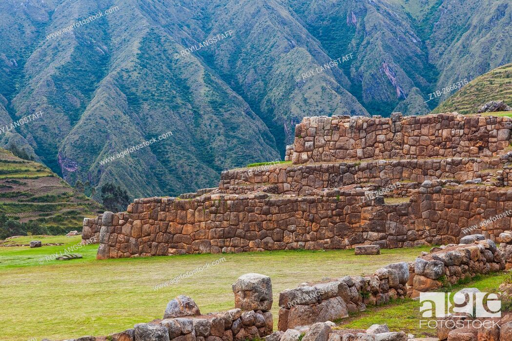 Stock Photo: Inca terraces against rugged mountains descending into the Sacred Valley.