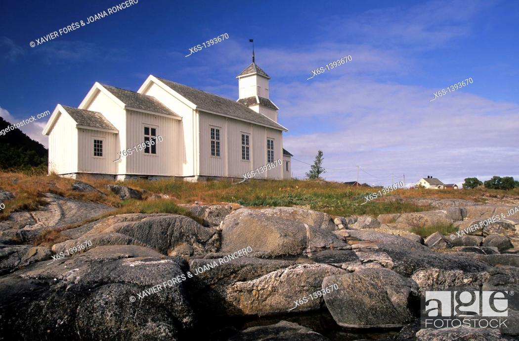 Stock Photo: Church in Gimsøy, Gimsøya, Lofoten Islands, Norway.