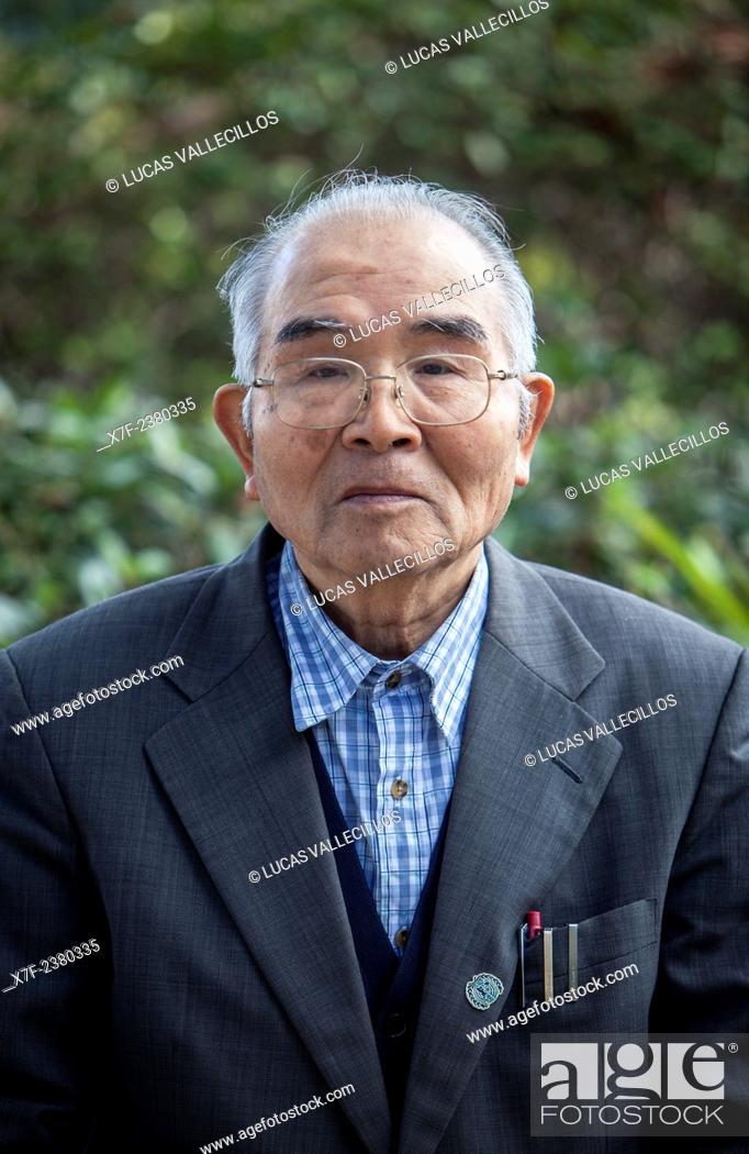Stock Photo: Yukio Yoshioka, born in 1929, a Hiroshima Atomic Bomb Survivor, Hiroshima, Japan.
