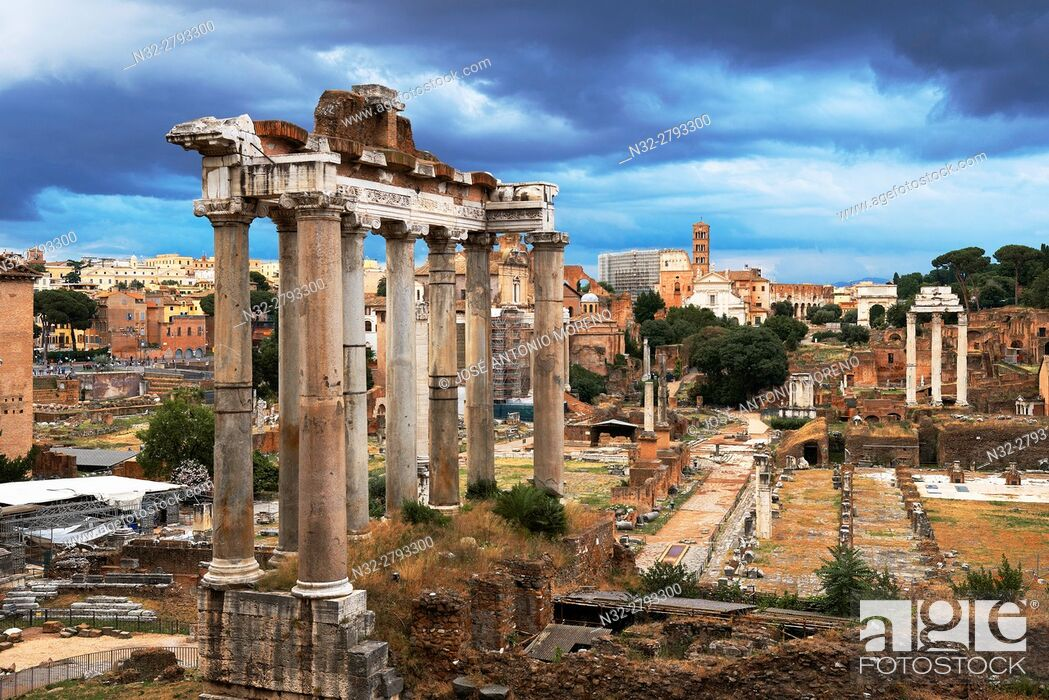 Stock Photo: Temple of Saturn; Roman Forum; Rome; Lazio; Italy; Europe.