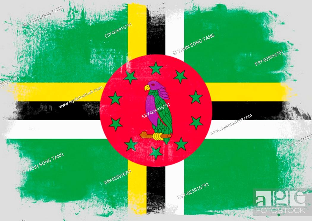 Stock Photo: Flag of Dominica painted with brush on solid background,.