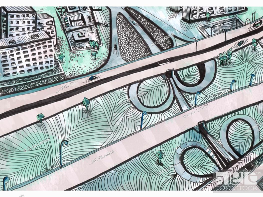Stock Photo: A birds eye view of a freeway running along a city.