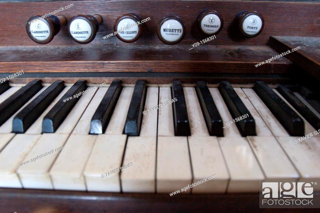 Stock Photo: Organ Keys.