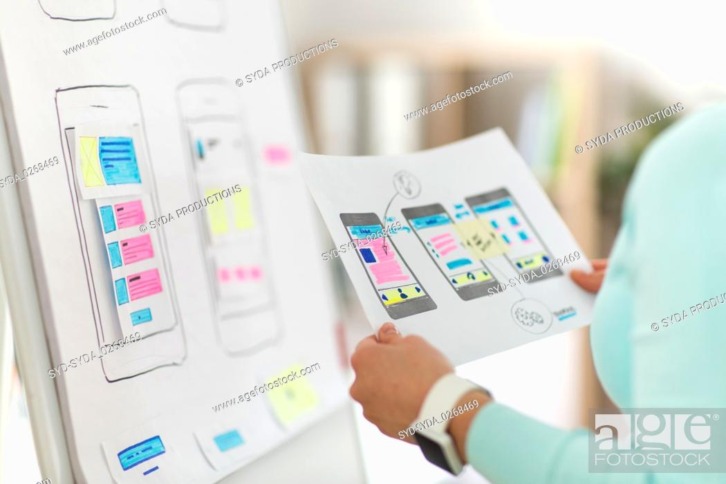 Stock Photo: close up of ui designer with templates at office.