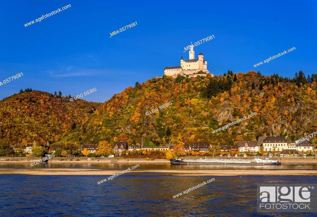 Stock Photo: Germany, Rhineland-Palatinate, upper Middle Rhine Valley, Braubach, the Rhine, townscape, Marksburg.