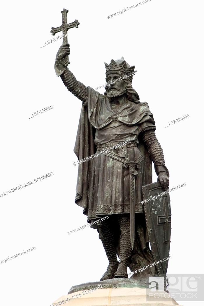 Stock Photo: Monument to Don Pelayo (Pelagius), Plaza del Marqués, Gijón, Asturias, Spain.