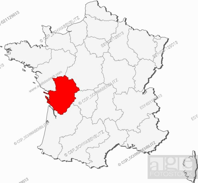 Poitou France Map.Map Of France Poitou Charentes Highlighted Stock Vector Vector