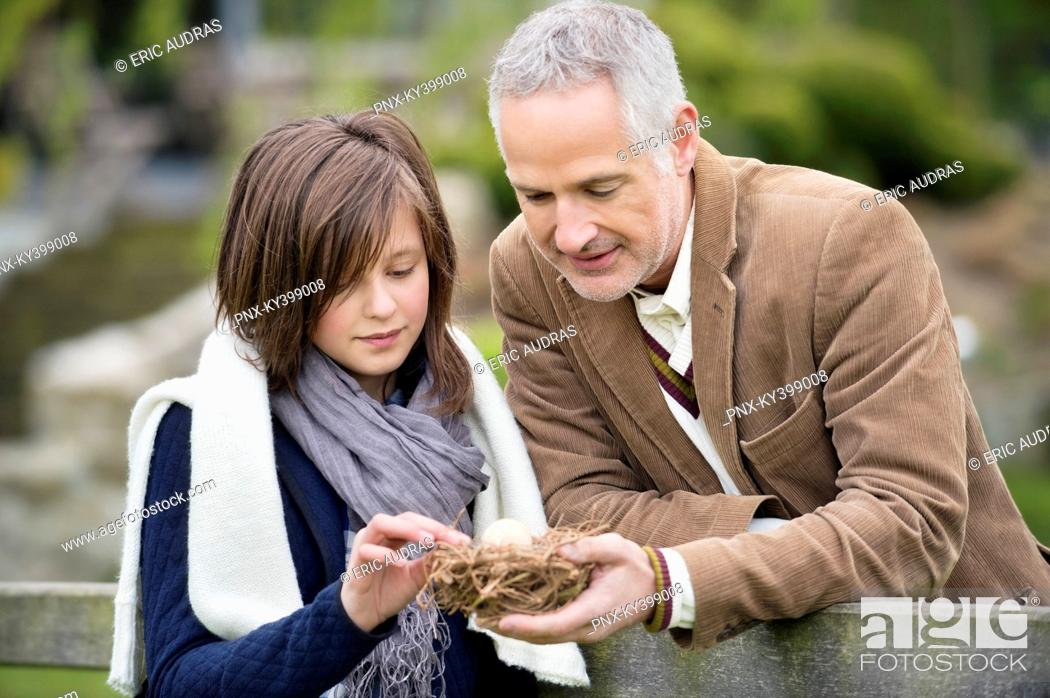 Stock Photo: Man with his daughter holding a bird's nest in a park.