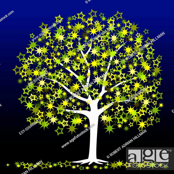 Vector: Editable vector illustration of a tree with stars as leaves.