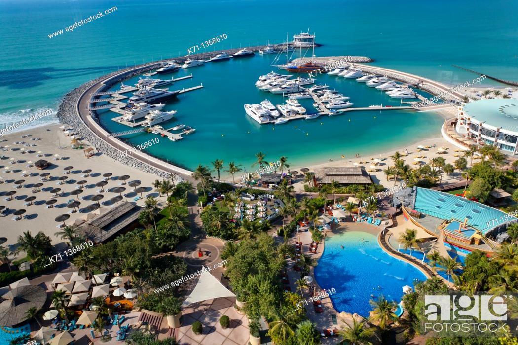 Stock Photo: The Jumeirah Beach Resort marina in Dubai, UAE.