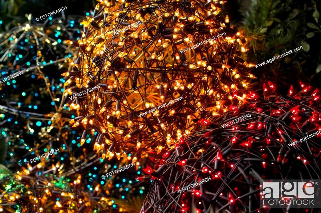 Stock Photo: winter, christmas, seasons, x-mas, light, decoration, tree.